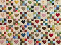 Queen Multi-Color Hearts and Nine Patch Quilt