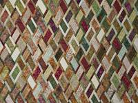 King Size Batik Plum Green Gold and Cream  Diamond Jubilee Quilt