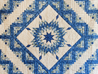 Blue Green Yellow Lone Star Log Cabin Quilt