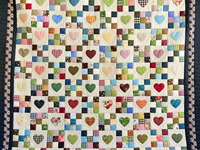 King Navy and Multicolor Hearts and Nine Patch Quilt