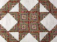 Sage and Pressed Flowers Log Cabin Star Quilt
