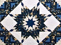 Navy Blue and Cream Lone Star Log Cabin Quilt