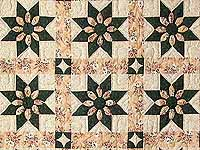 Dark Green and Peach Dahlia Quilt