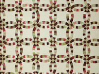 Double Wedding Ring Quilt Burgundy/sage queen size bed quilt