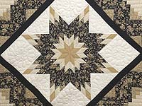 Black Gold and Tan Lone Star Log Cabin Quilt