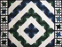 Blue and Green Log Cabin Granny Star Quilt