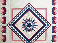 Blue and Rose Mariners Medallion Quilt
