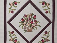 Burgundy, coral, green, ivory Queen Spring Basket Quilt