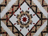 BrownGreen-Gold Lone Star Log Cabin Quilt