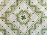 Soft Greens  and Cream Lone Star Log Cabin Quilt