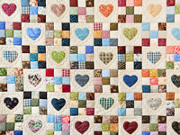 King Burgundy and Multicolor Hearts and Nine Patch Quilt