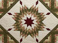 Moss Green and Burgundy Lone Star Log Cabin Quilt