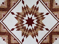 Burgundy and Cream Lone Star Log Cabin Quilt