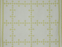 Nine Patch Diagonal Double/Queen Size Queen Shams included -- Greens and White