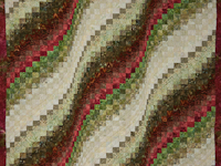 Queen Bargello Wave in Batiks Soft greens, ivory and a splash of burgu