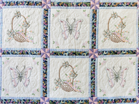 Basket and Butterfly Embroidered Quilt