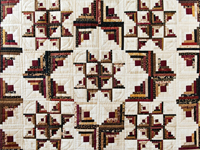 Earthtones Log Cabin with Stars Quilt