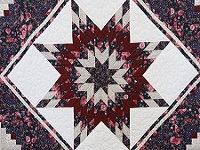 Rose Burgundy and Navy Lone Star Log Cabin Quilt