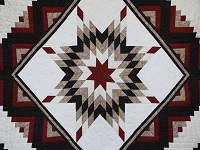 Black and Burgundy Lone Star Log Cabin Quilt