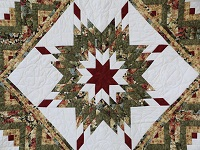 Moss Green and Deep Burgundy Lone Star Log Cabin Quilt