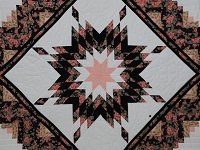 Rose Black  and Golden Tan Lone Star Log Cabin Quilt