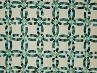 King Size - Double Wedding Ring  Batik sea mist blues/greens on parchment