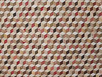 Burgundy and neutral Tumbling Blocks Queen size bed quilt