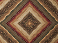 Brown, red, green, gold Postage Stamp Color Splash Queen Quilt