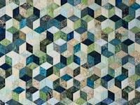 Tumbling Blocks - Queen size Hand Painted Batiks -  blues/greens/neutr