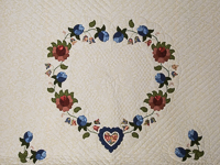 Soft Blue and Cinnamon and Green  Heart of Roses Quilt King size Bed Quilt