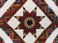 Navy Burgundy and Beige Lone Star Log Cabin Quilt