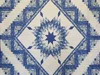 Blue Yellow Green Lone Star Log Cabin Quilt