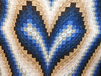 Blue and Beige Bargello Hearts Quilt