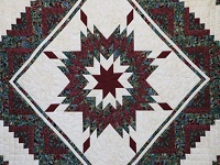Burgundy Black and Gold Lone Star Log Cabin Quilt