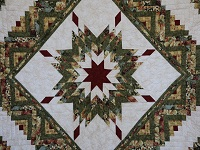 Green Gold and Deep Burgundy Lone Star Log Cabin Quilt