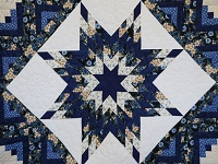 Navy Blue and Tan Lone Star Log Cabin Quilt