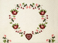 Wine, Rose and Green  King Size Heart of Roses Quilt