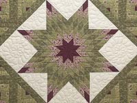 Burgundy Rose and Sage Lone Star Log Cabin Quilt