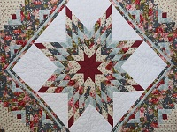 Slate Blue and Rose Lone Star Log Cabin Quilt