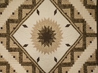 Soft Olive Green and Cream Lone Star Log Cabin Quilt