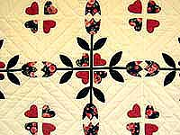 Rose and Dark Green Tulip Applique Quilt