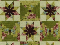 Burgundy Sage Court Step Dahlia Quilt