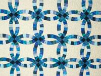 Wedding Ring Queen size  Batik Blues on parchment