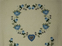 Blue and Green Heart of Roses Quilt in Queen