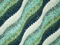 Bargello Wave in Green and Touch of Blue Batiks