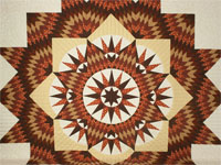King Burgundy, red, brown and Gold Mariner's Star Quilt