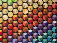 Sunrise Sunset Tumbling Blocks King size in Batik Fabrics