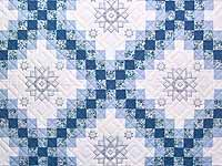 Blue and Ivory Cross Stitch Irish Chain Quilt