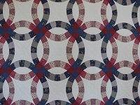 King Blue and Rose Double Wedding Ring Quilt