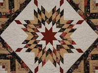 Brown Green-Gold Lone Star Log Cabin Quilt
